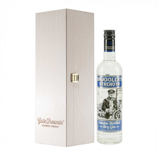 Smugglers Strength London Dry Gin mit Geschenk-Holzkiste