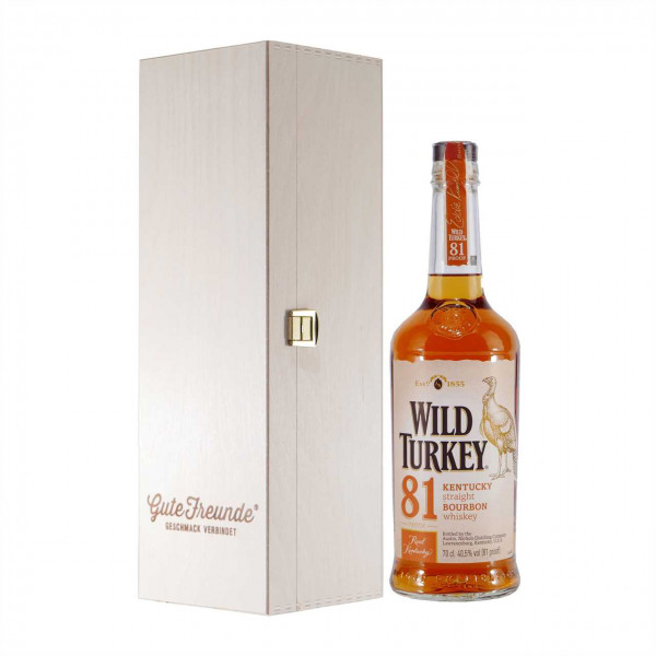 Wild Turkey 81 Proof Kentucky Straight Bourbon mit Geschenk-HK